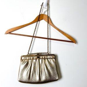 Vintage Gold Sixties Wristlet Clutch Purse
